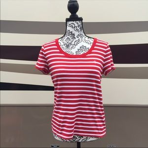 Ralph Lauren Red Striped Tee Shirt Medium